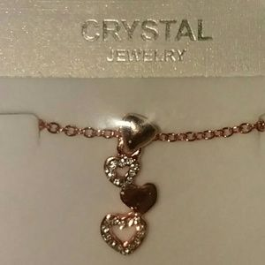 Jewelry - Crystal Rose Colored Heart Necklace.